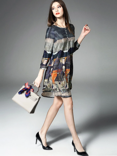 Fashion Floral Print Long Sleeve Silk Casual Dresses