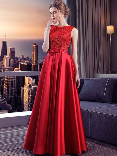 Lace Contrast Bowknot O-Neck Sleeveless Backless Wedding Dresses
