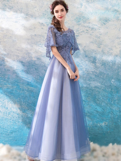 Elegant Sashes Slash Neck Blue Wedding Dresses