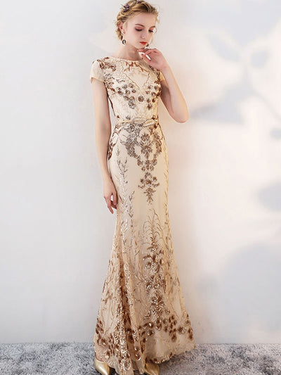 Embroidery Sequins O-Neck Short Sleeves Sheath Prom Wedding Dresses