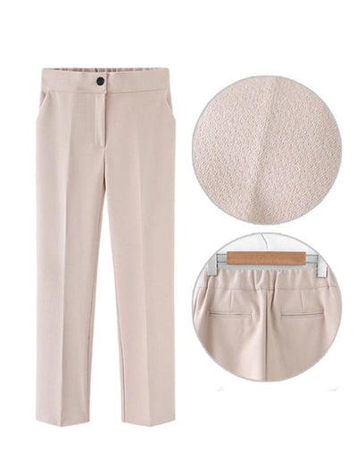 Solid Slim Woman Daily Office Pants