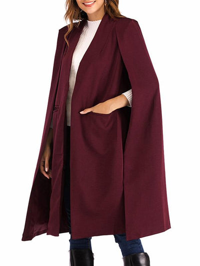 Elegant Plain Woman Pocket Long Cape Outfit
