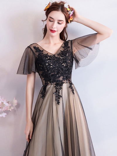 Stereo Lace Deep V Neck Flare Sleeves Slim Tulle A-Line Black Weddding Dresses