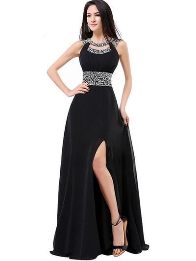 Designer Sequined Contrast O-Neck Backless Long Prom Party Dresses