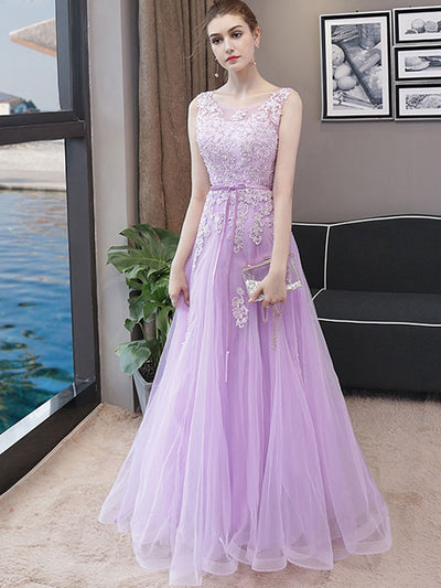 Floral Sashes Purple Strapless Wedding Dresses