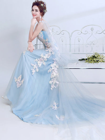 Embroidery Solid Color Sleeveless Trailing Long Wedding Dresses