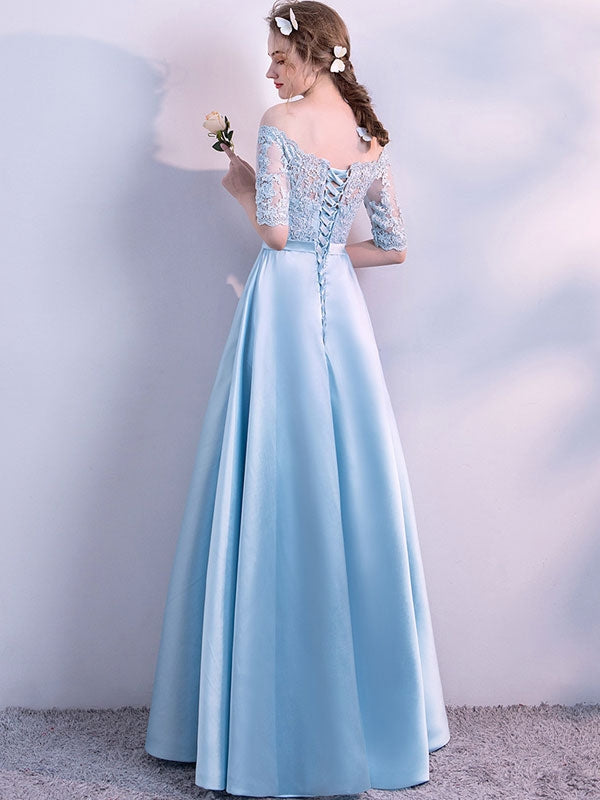 Lace Contrast Bowknot Slash Neck Half Sleeves Prom Wedding Dresses
