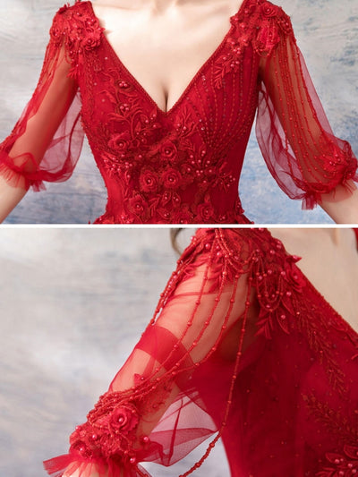 Beading Embroidery Contrast Solid Color Sashes Deep V Neck Lantern Sleeves Long Wedding Dresses