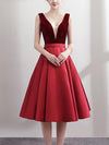 Fashion Stitching Deep V Neck Sleeveless Sexy Elegant A-Line Party Dresses
