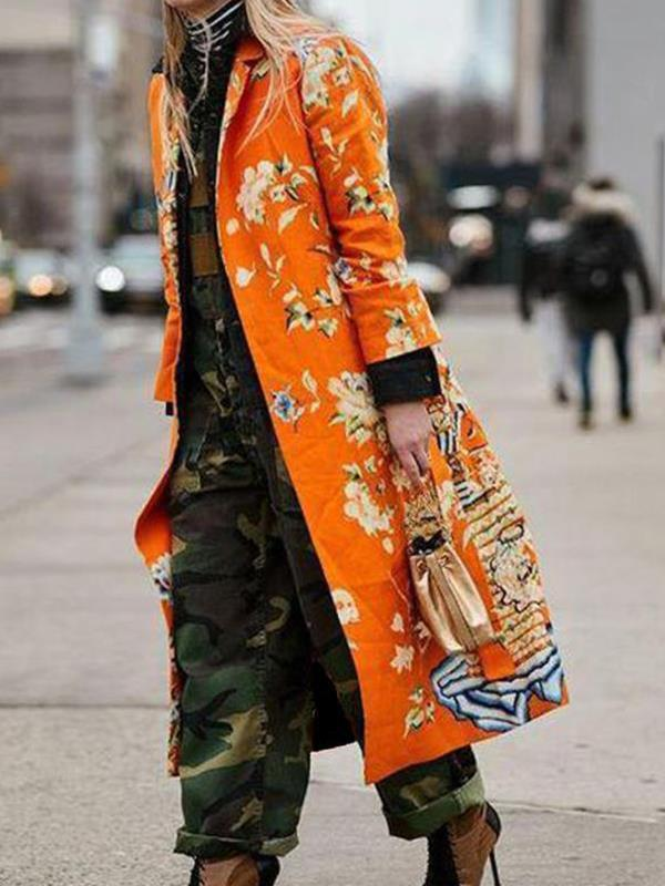 Printed women turn down collar long coats