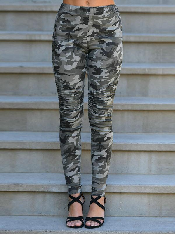 Fashion Camouflage Slim Pencil Pants