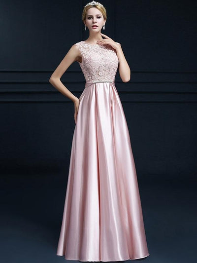 Bowknot Lace Contrast O-Neck Sleeveless Long Party Dresses