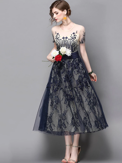 Fashion O-Neck Short Sleeve Embroidery A-Line Party Dresses