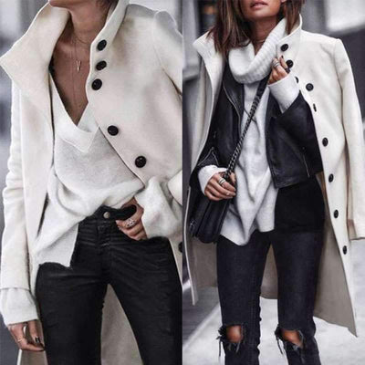 Fashion Fold Over Collar Single Breasted Plain Outerwear Coats