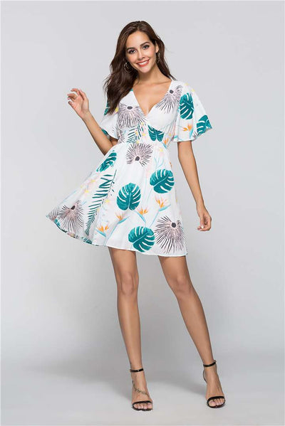 Flare Sleeve High Waist Holiday Print Skater Casual Dresses