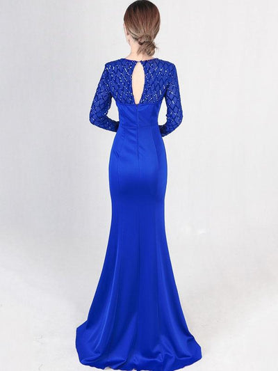 Sequined Contrast Plaids O-Neck Long Sleeves Sheath Backless Party Dresses