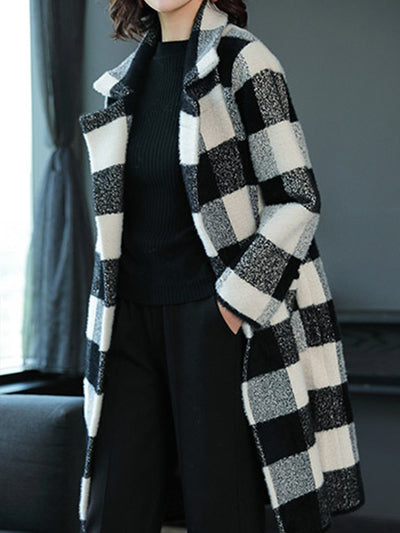 Red Grid Woman Elegant Lapel Coats