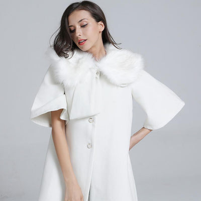 New Fashion Half sleeve Cony Fur Collar Cape Coat
