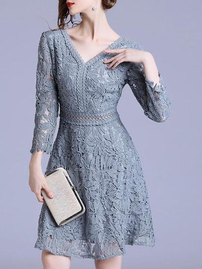 Fashion V neck Lace Party Dresses