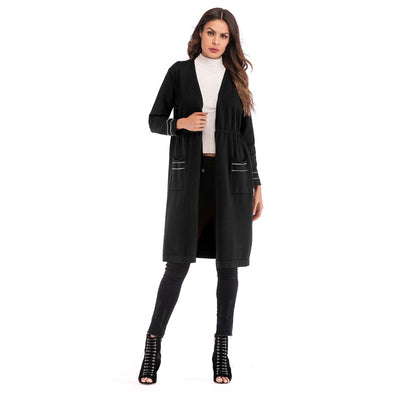 Fashion Lacing Knit Long sleeve Coats
