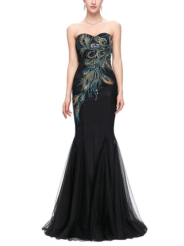Embroidery Contrast V-Neck Sleeveless Mermaid Long Evening Party Dresses