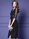 Elegant Lace Half Sleeve V-Neck Slim Split Bodycon Party Dresses