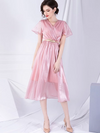 Fairy Sashes V-Neck Gathered Waist Solid A-Line Casual Dresses