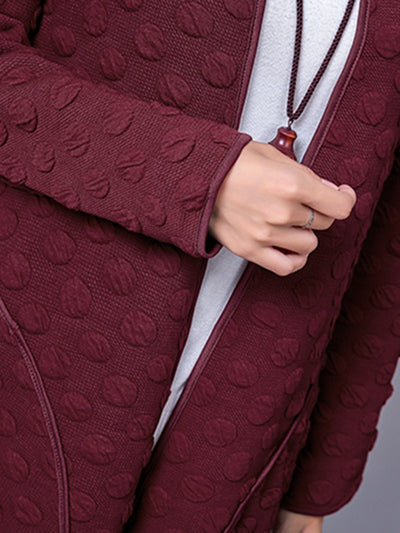 Big Pockets Jacquard Long Sleeve Coat