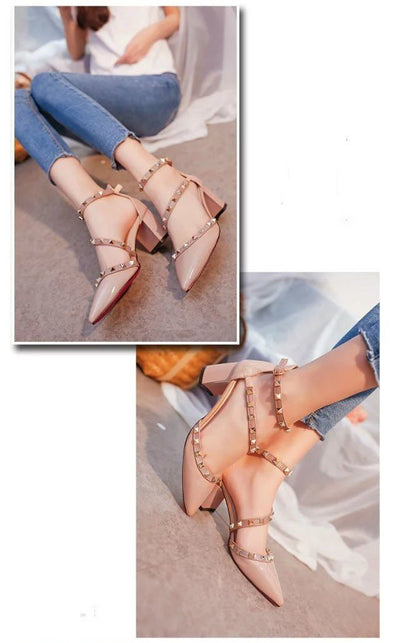 Rivets Square Heels  Fashion Pump