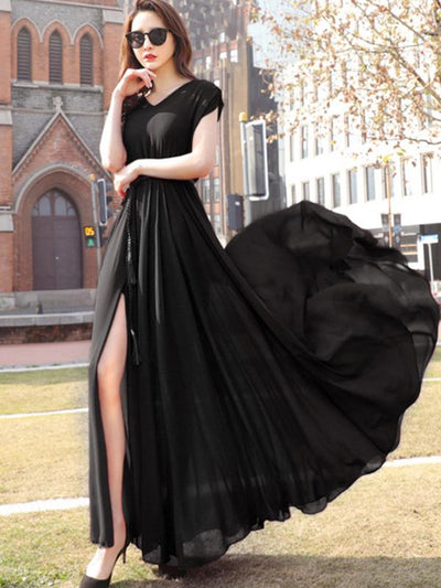 Holiday Slit Chiffon V-Neck Big Hem Maxi Casual Dresses