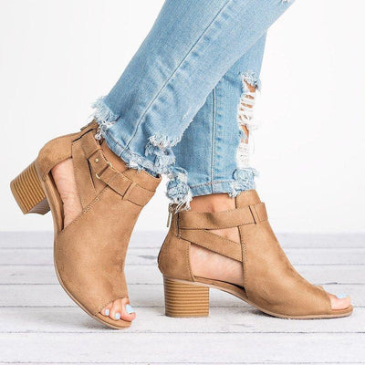Women Leather Pumps Booties Casual Zipper Shoes