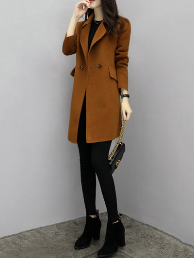 Shift Buttoned Casual Pockets Wool Blend Coat