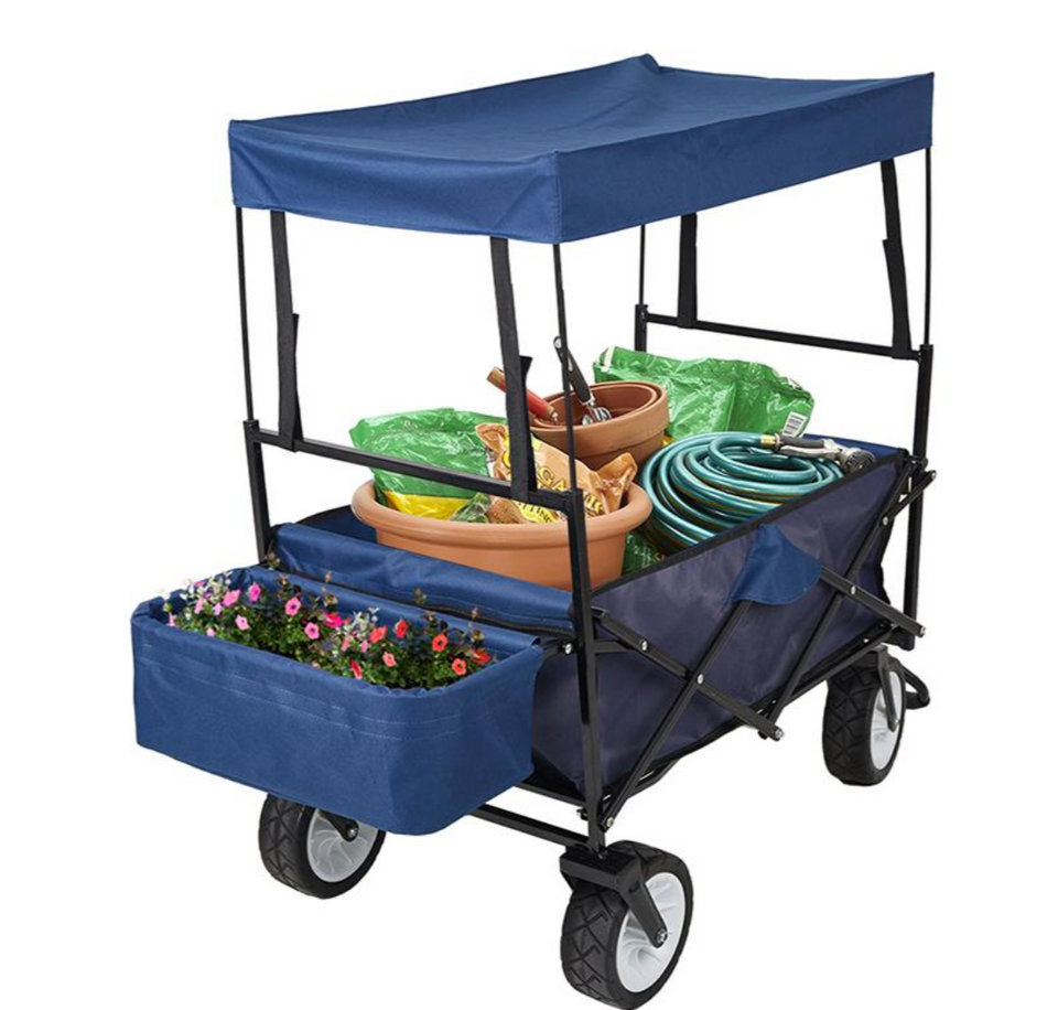 FOLDING WAGON GARDEN TROLLEY WITH BASKET