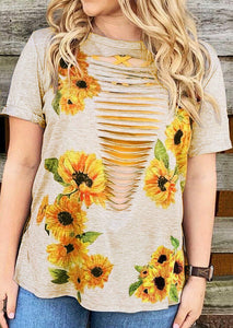 Sunflower Hollow Out T-Shirt