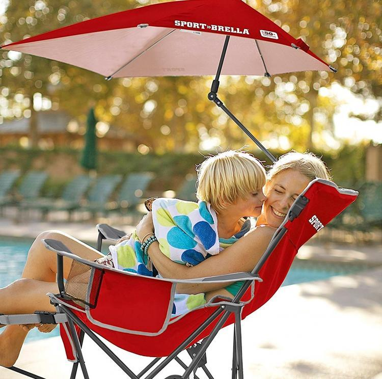 Reclining Camping Chair With Attached Umbrella