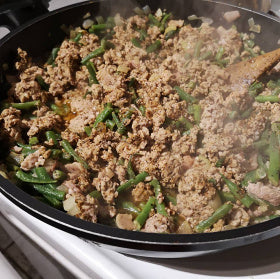 Recipe of ground pork, bacon and green beans
