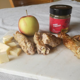 Homemade apple and chedar sausage without casings