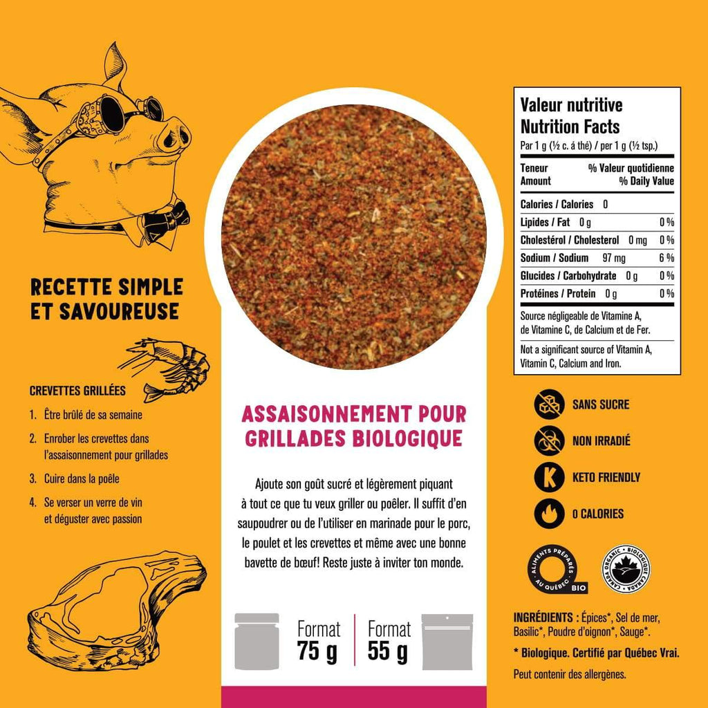 Seasoning for grills - Organic spices 55g