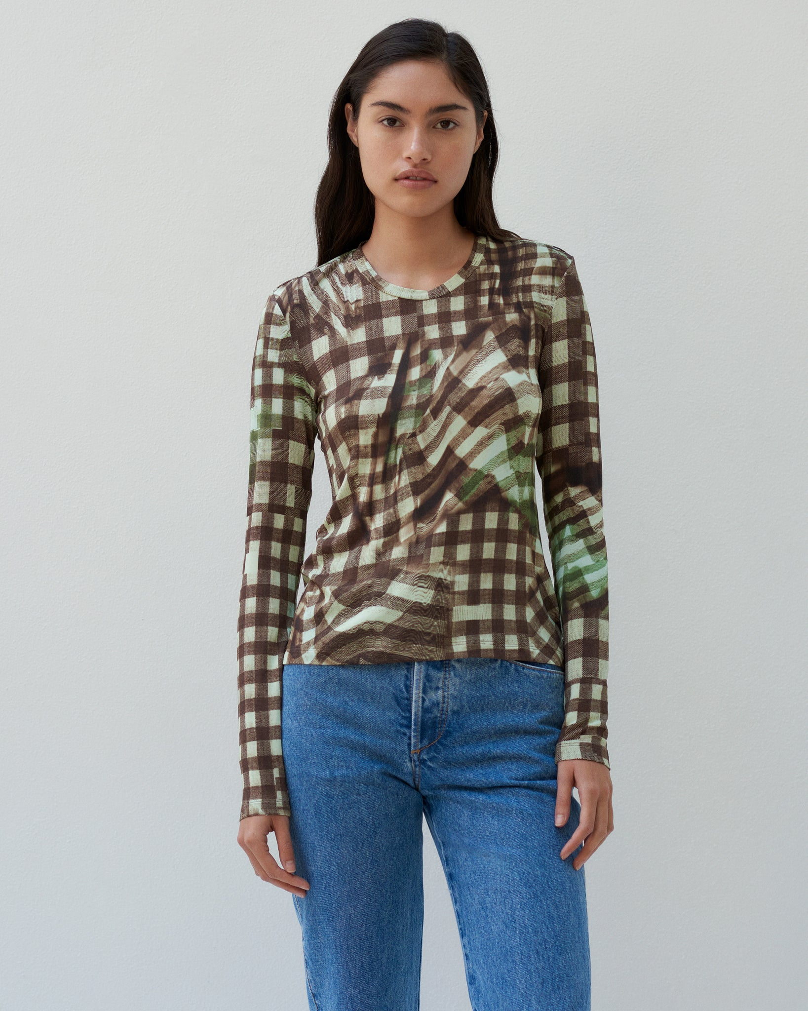 LONG SLEEVED TOP IN PRINTED VISCOSE JERSEY