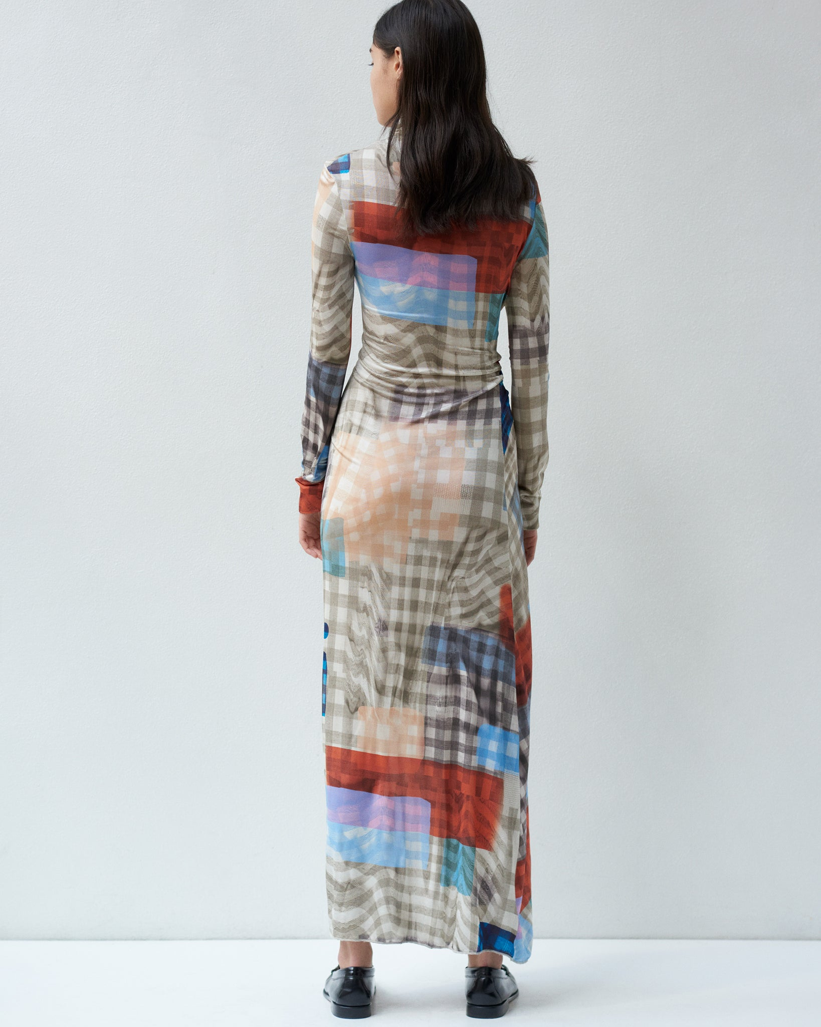 PRINTED TURTLENECK DRESS IN PRINTED VISCOSE JERSEY