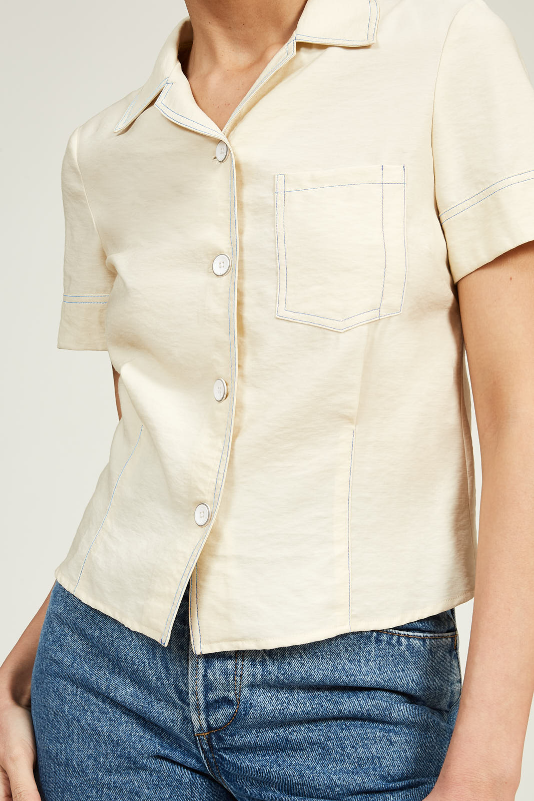 Short Sleeve Bowling Shirt in Viscose Twill