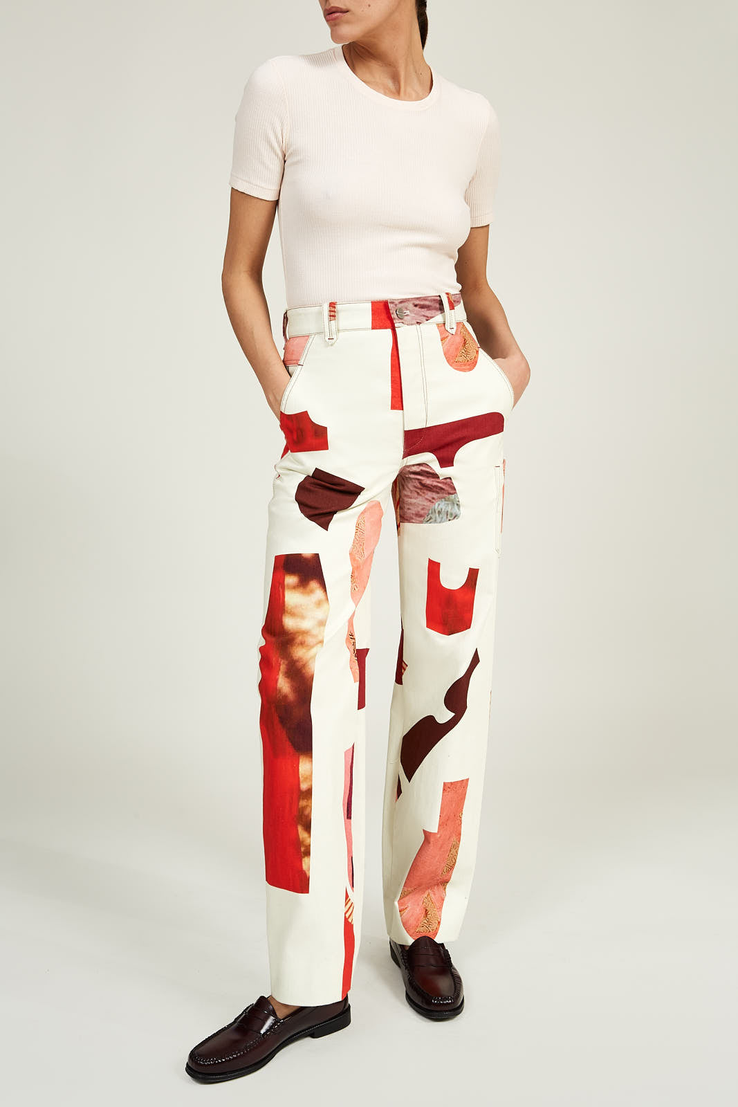 Relaxed Trouser in Printed Cotton