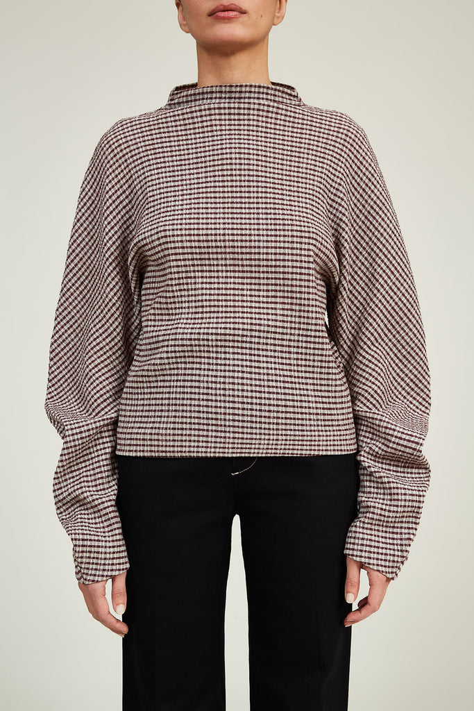 Mock Neck Top in Gingham