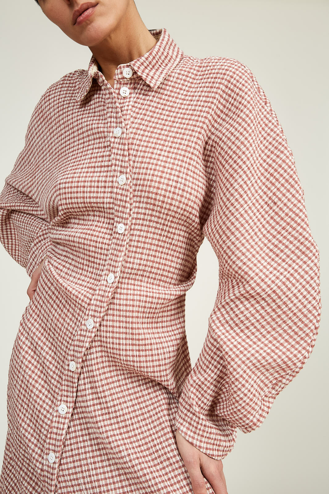 Twisted Shirt Dress in Gingham