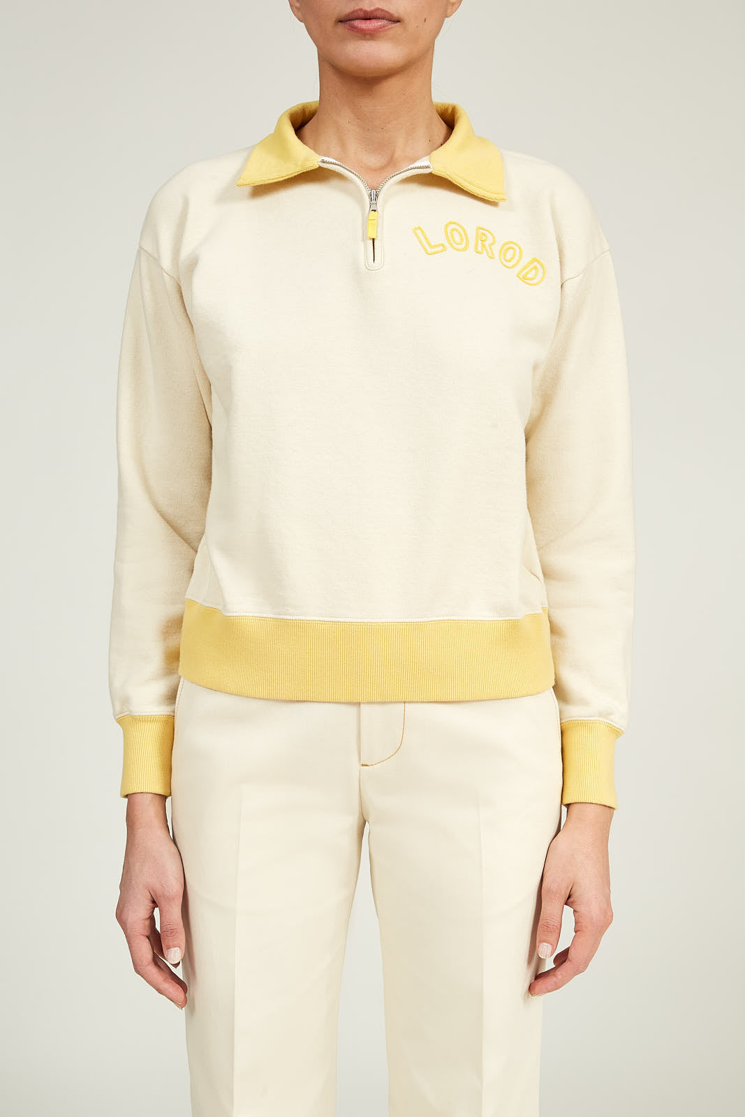 Contrast Zip Sweatshirt in Cotton Terry