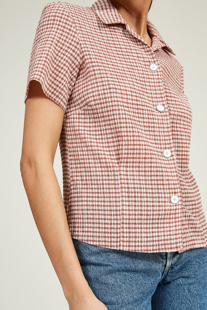Short Sleeve Bowling Shirt in Gingham