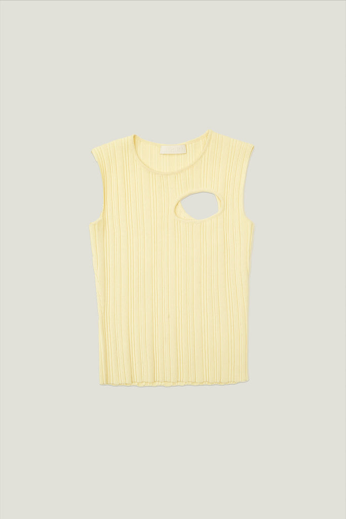Tank with Cut Out in Fine Gauge Knit