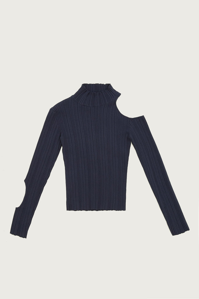 Turtleneck with Cut Out in Fine Gauge Knit