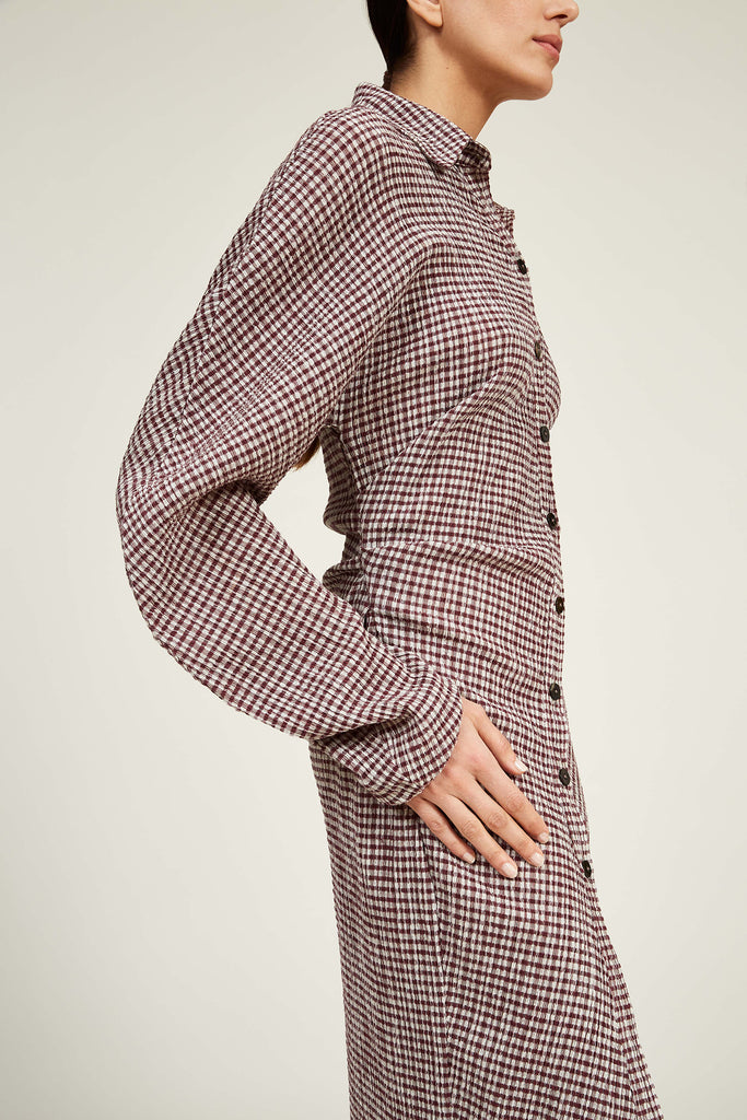 Twisted Shirt Dress in Stretch Gingham