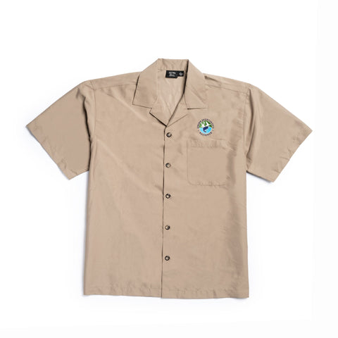 AKWA TAN BUTTON UP SHORT SLEEVE with USA logo